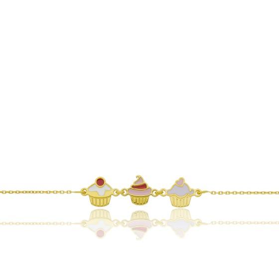 Bracelet Cupcakes, Or jaune 9 carats - Bambins