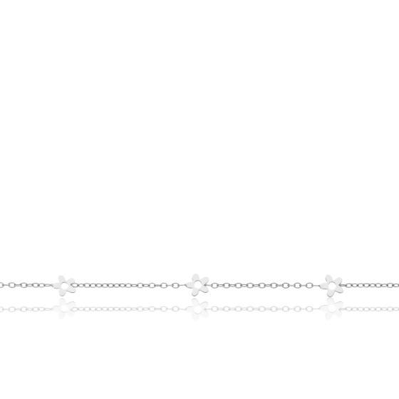 Bracelet enfant Fleurs ajourées, Or blanc 9 carats - Bambins