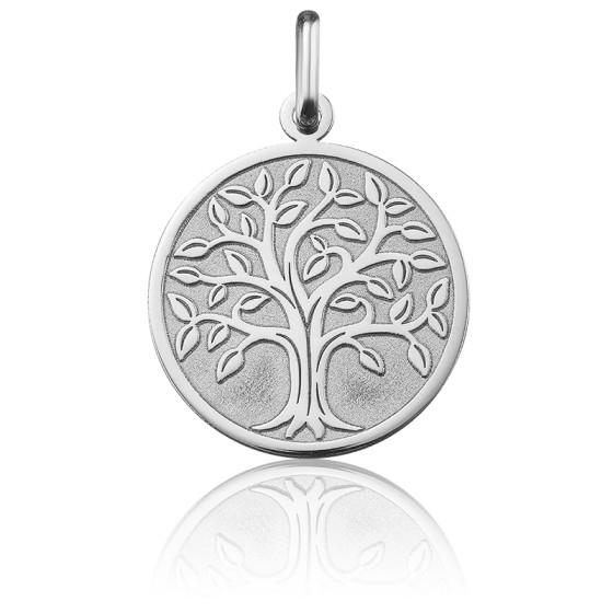 Médaille Arbre de Vie bord poli, Or blanc 18K - Argyor