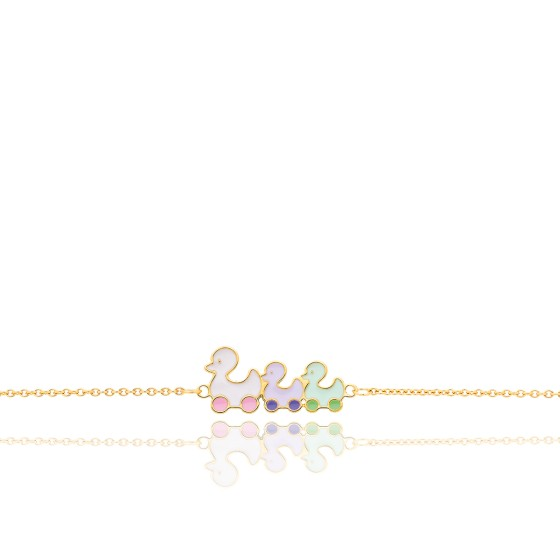 Bracelet motif canards, Or jaune 9 carats - Bambins