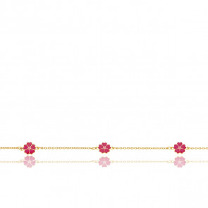 Bracelet Fleurs roses, Or jaune 9 carats - Bambins