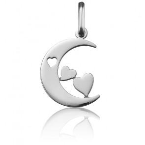 Pendentif lune aux 3 cœurs, Or blanc 18 carats - Argyor