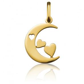 Pendentif lune aux 3 cœurs, Or jaune 18 carats - Argyor