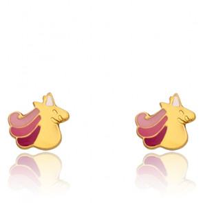 Boucles d'oreilles Licorne, Or jaune 18K et émail - Bambins