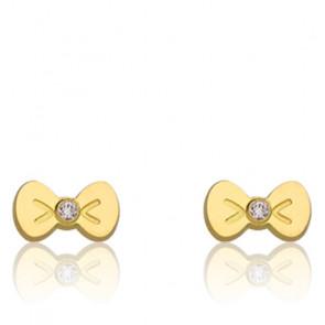 Boucles d'oreilles Nœuds, Or jaune 18K et zyrcon - Bambins