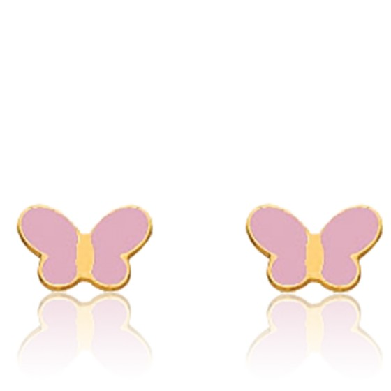 Boucles d'oreilles Papillon rose, Or jaune 18K - Bambins