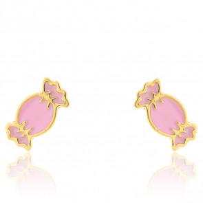 Boucles d'oreilles Bonbon rose, Or jaune 9 carats - Bambins