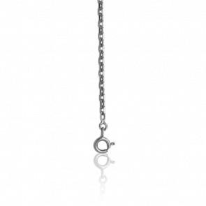 Chaîne maille forçat diamantée, Or blanc 18 carats, 50 cm