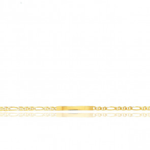 Gourmette Maille Marine Alternée, Or Jaune 18K, 16 cm - Emanessence