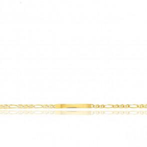 Gourmette Maille Marine Alternée, Or Jaune 18K, 19 cm - Emanessence