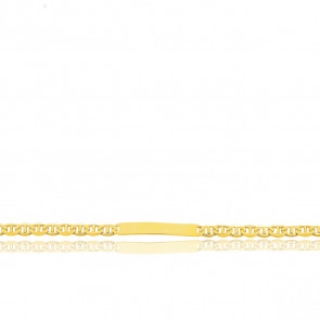 Gourmette Maille Marine Plate, Or Jaune 18K, 19 cm - Emanessence