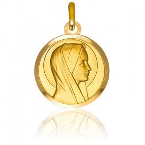 Médaille Vierge profil droit, Or jaune 9K - Emanessence