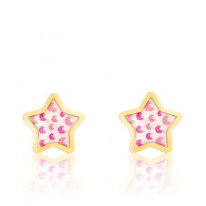 Boucles d'oreilles Etoiles, Or jaune 18K et émail - Bambins