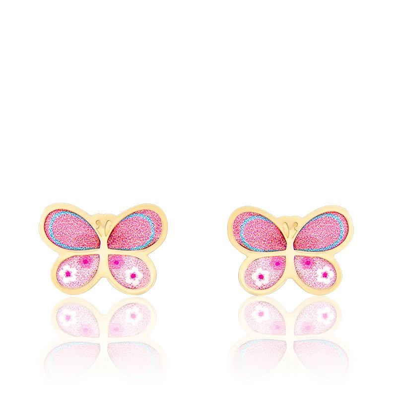 check-out 8822e dfc77 Boucles d'oreilles Papillon, Or jaune 18K et émail - Bambins