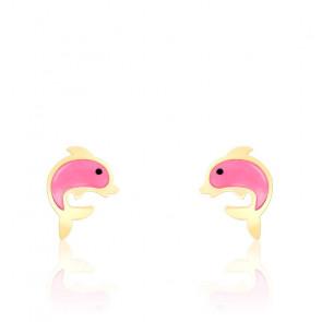 Boucles d'oreilles Dauphin, Or jaune 18K et émail rose - Bambins