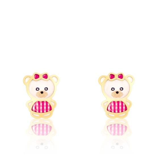 Boucles d'oreilles Ourson, Or jaune 18K et émail - Bambins