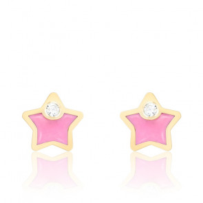 Boucles d'oreilles Etoiles, Or jaune 18K et émail rose - Bambins
