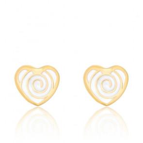 Boucles d'Oreilles Cœur Spirale Email & Or Jaune 18K