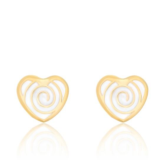 Boucles d'oreilles Cœur, Or jaune 18K et émail - Bambins