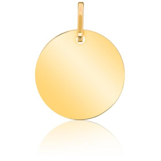Médaille ronde à graver plané, Or jaune 18K - Emanessence
