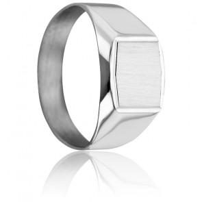 Chevalière Hexagonale 9 x 11 mm, Or Blanc 18K - Imperium