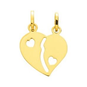 Pendentif coeur à séparer, Or jaune 9 ou 18K - Emanessence