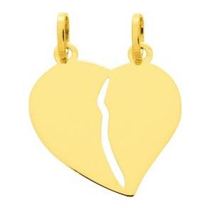 Pendentif cœur sécable, grand modèle, Or jaune 9 ou 18K - Emanessence
