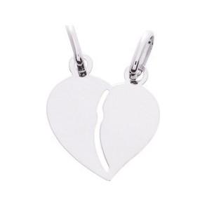 Pendentif cœur sécable, petit modèle, Or blanc 9 carats - Emanessence