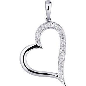 Pendentif coeur diamanté, Or blanc 9 ou 18K - Emanessence