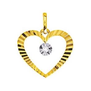 Pendentif coeur strié, Or jaune 9K et diamant - Emanessence