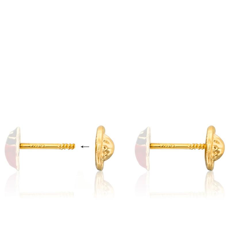 Carats CoccinelleOr 9 18 Boucles Ou D'oreilles Jaune cFJTlK1