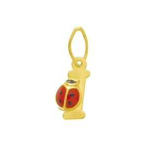 Pendentif initiale I et coccinelle, Or jaune 9 ou 18K - Emanessence