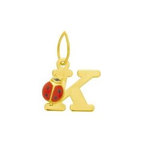 Pendentif initiale K et coccinelle, Or jaune 9 ou 18K - Emanessence