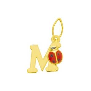 Pendentif initiale M et coccinelle, Or jaune 9 ou 18K - Emanessence