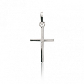 Croix fil carré plat, Or Blanc 9 ou 18K - Emanessence