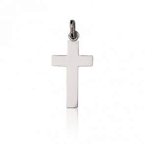 Croix Plate Simple, Or Blanc 9 ou 18K - Emanessence