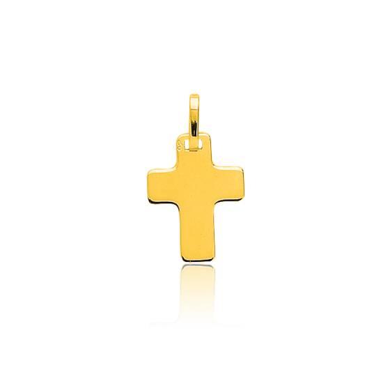 Pendentif croix plate, Or jaune 9 ou 18 carats - Emanessence