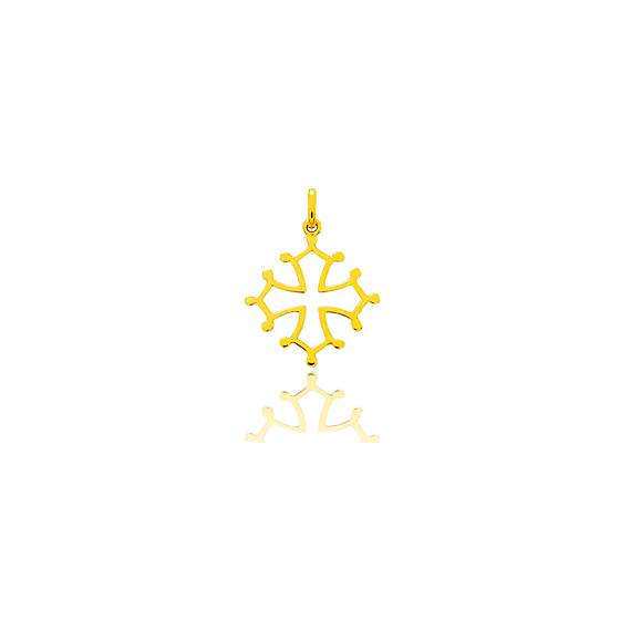 Croix Occitane fil carré, Or Jaune 9 ou 18K - Emanessence