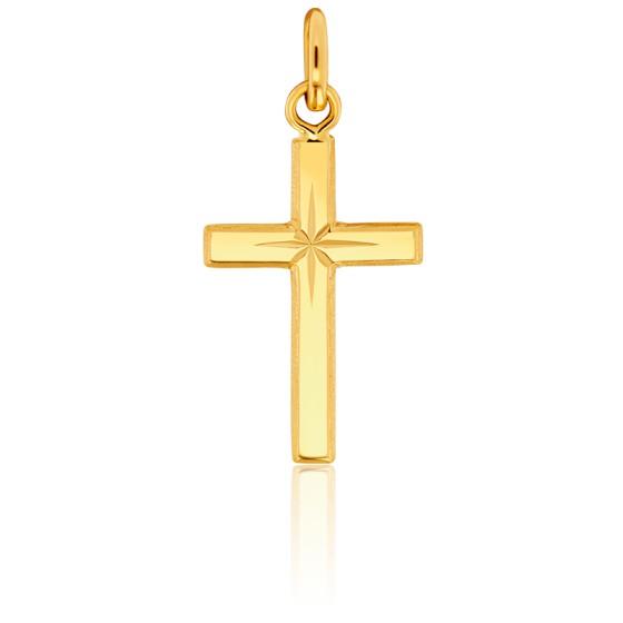 Croix au centre étoilé, Or jaune 9 ou 18 carats - Emanessence