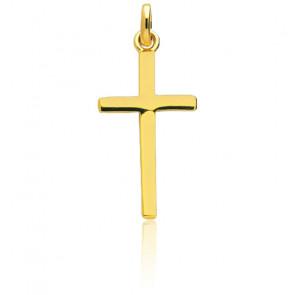 Croix fil carré, Or jaune 9 ou 18 carats - Emanessence