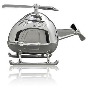 Tirelire Hélicoptère, Métal argenté - Daniel Crégut