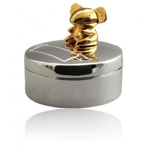 Boîte à dents de lait souris assise, Métal argenté - Daniel Crégut