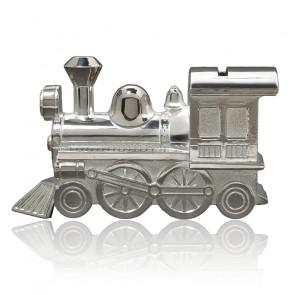 Tirelire Locomotive, Métal argenté - Daniel Crégut