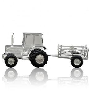 Tirelire Tracteur, Métal argenté - Daniel Crégut