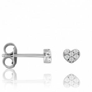 Boucles d'oreilles Cœur, Or Blanc 18K et diamants - Vandona