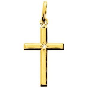 Croix diamantée, Or jaune 18K et diamant - Emanessence