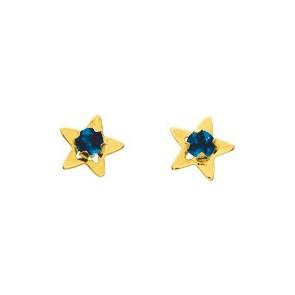 Boucles d'oreilles Etoile, Or jaune 18K & Saphir - Emanessence
