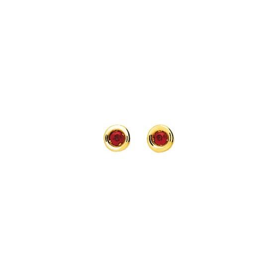 Puces d'oreilles rubis serti clos, Or jaune 18K - Emanessence