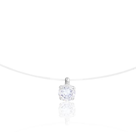 Collier fil nylon, Diamant G/VS (serti 4 griffes) - Diamond Lady