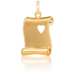 Médaille parchemin coeur, Or jaune 18K - Emanessence